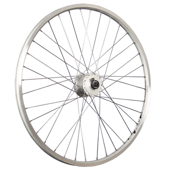 26inch bike front wheel ZAC19 hub dynamo stainless steel 559-19 silver