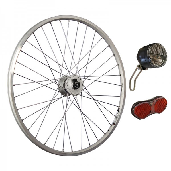 26inch bike front wheel silver with light set LED up to 25 Lux