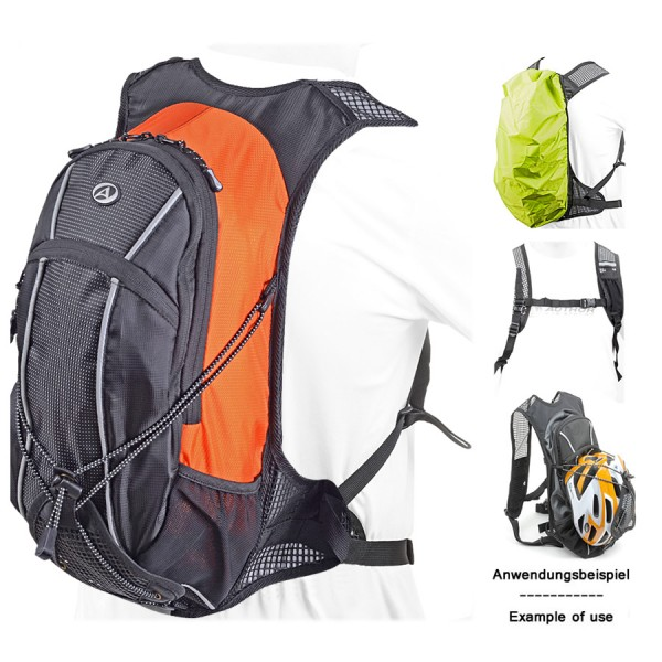 Cyclone backpack GSB 9 anatomical padded black orange reflector