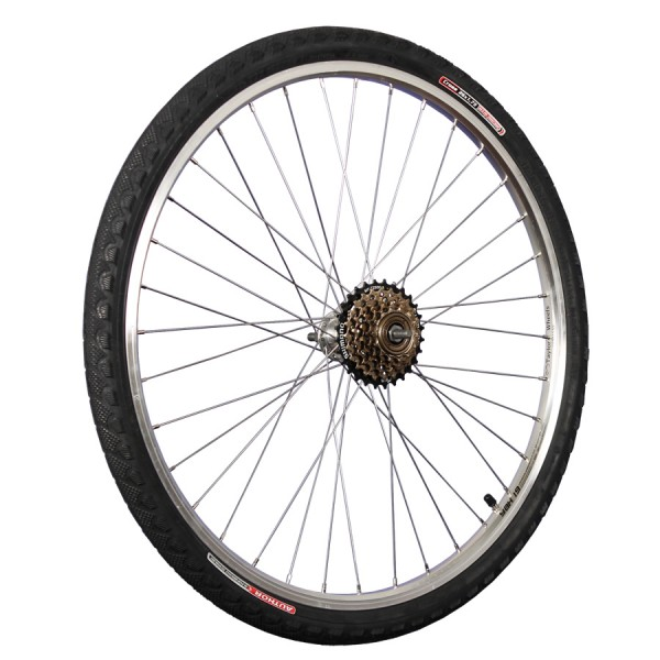 26inch bike rear wheel with tyre, tube and freewheel 6 silver