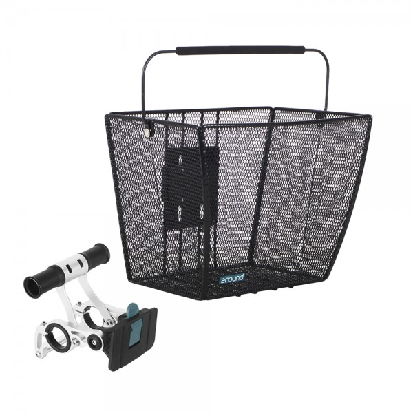 Bicycle handlebar basket close mesh with bracket basket removable black