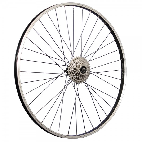 28 inch bicycle rear wheel aluminum rim with 9-speed freewheel black
