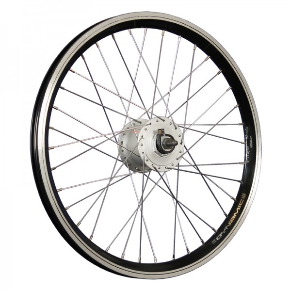 20inch bike front wheel double wall rim hub dynamo black/silver