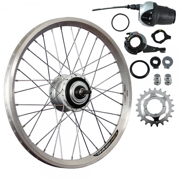 20inch bike rear wheel double-wall rim Nexus 8 freewheel silver