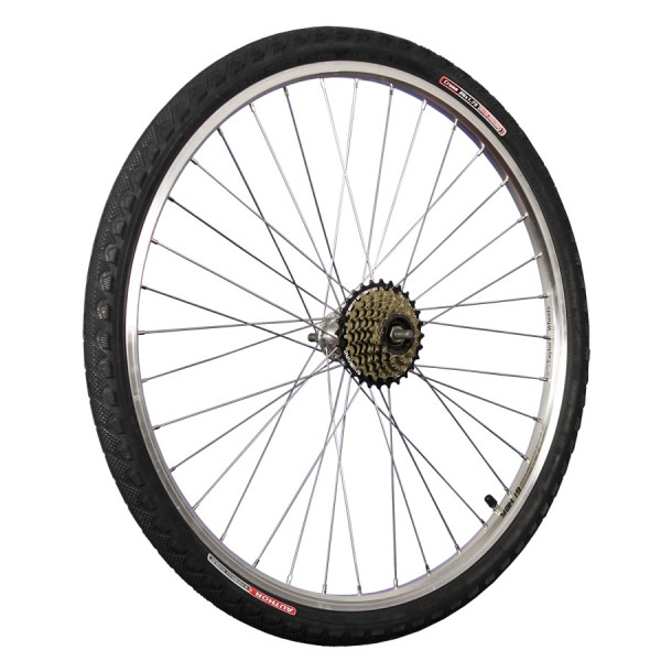 26inch bike rear wheel with tyre, tube and freewheel 7 silver