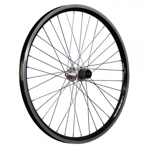 24inch bike rear wheel double wall rim 7-10 cassette black/silver