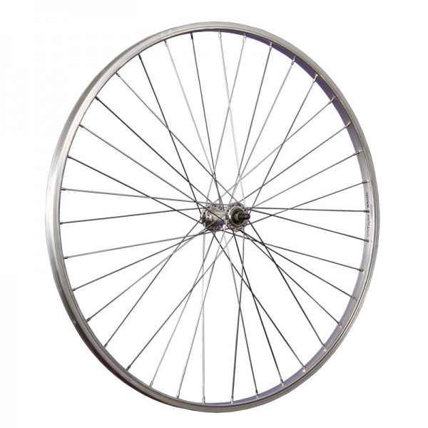 28inch bike front wheel aluminium stainless steel 622-19 36 holes silver