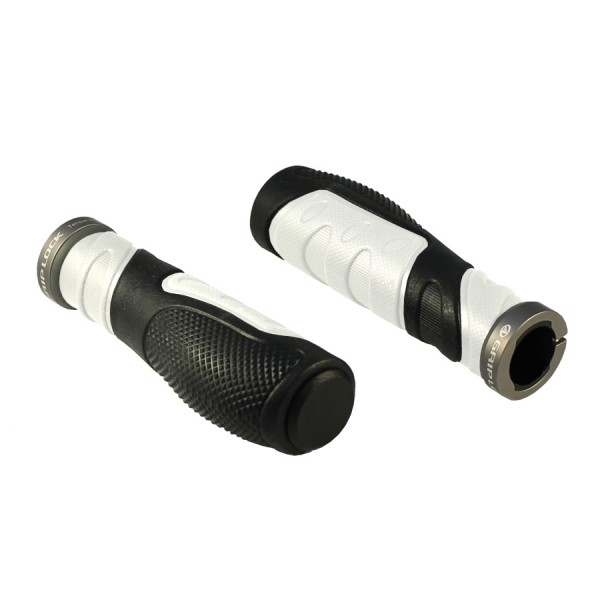 Bicycle handlebar grips AGR Ergo 20 130mm GripLock screw white black