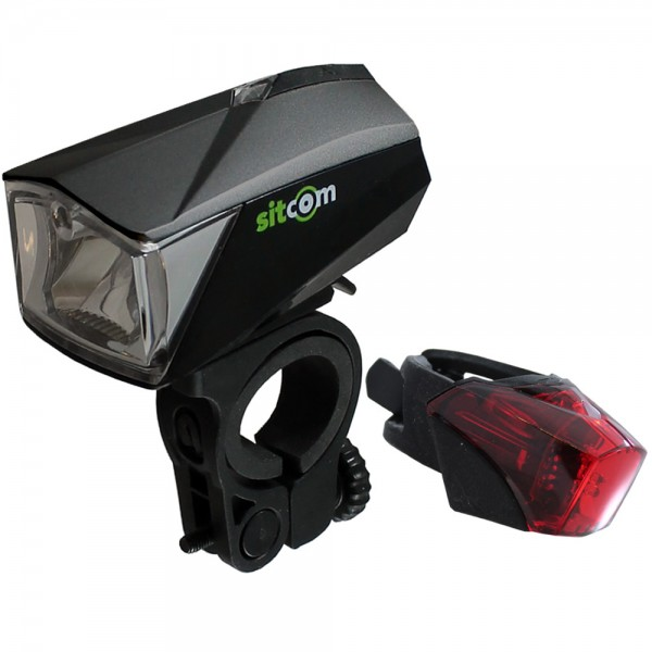 Bicycle LED light set 50 Lux sensor rechargeable front and rear USB black