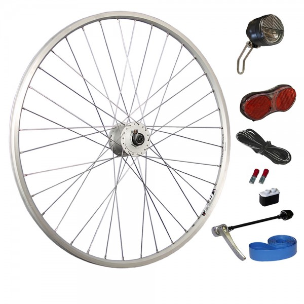 28inch bike front wheel silver with light set LED up to 25 lux