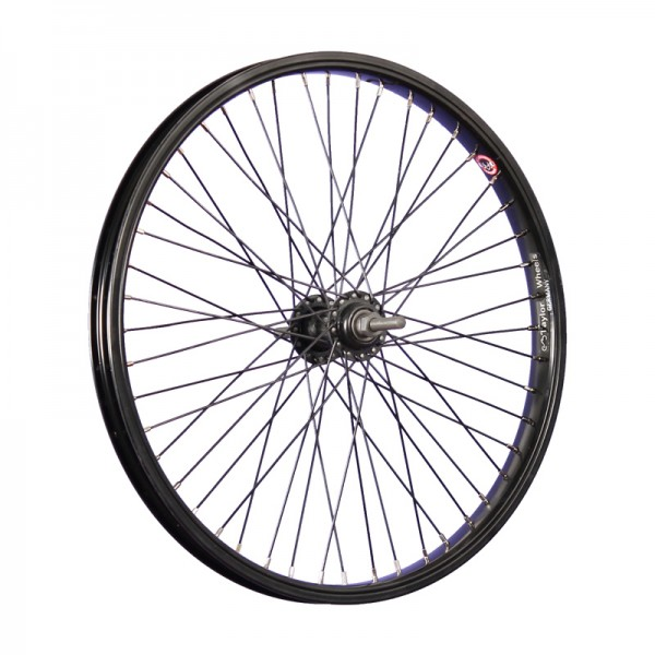 20 inch BMX bike front wheel single wall 48 holes thru axle black