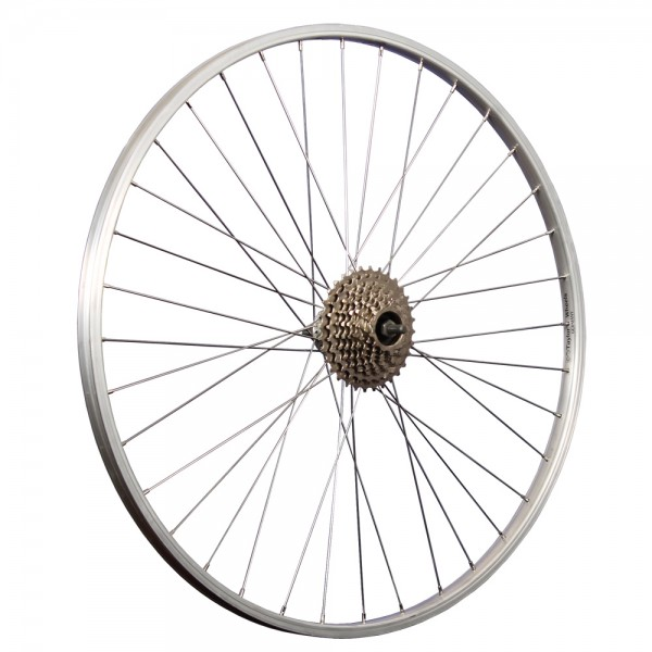 28 inch bicycle rear wheel aluminum rim with 9-speed freewheel silver