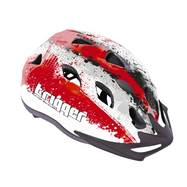 Bicycle helmet Trigger child youth Size M 52-58cm InMold red white grey