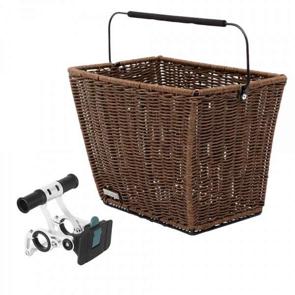 Bicycle handlebar rattan basket close mesh with bracket removable brown