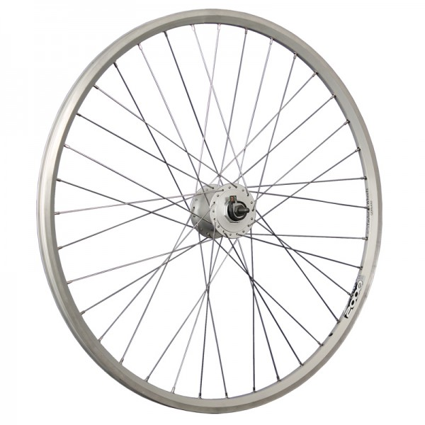 28 inch bike front wheel ZAC2000 Shimano DH-C3000 thru axle silver