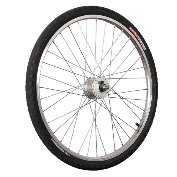 26inch bike front wheel with hub dynamo, tyre and tube silver