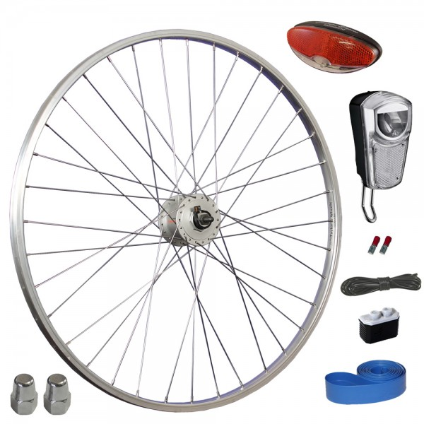Taylor Wheels 28 inch bicycle front wheel with Shimano hub dynamo LED light set