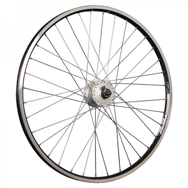 26inch bike front wheel ZAC19 with hub dynamo black/silver
