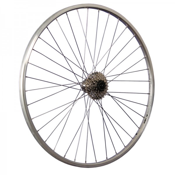 28inch bike rear wheel Yak19 with Shimano 7 speed cassette silver
