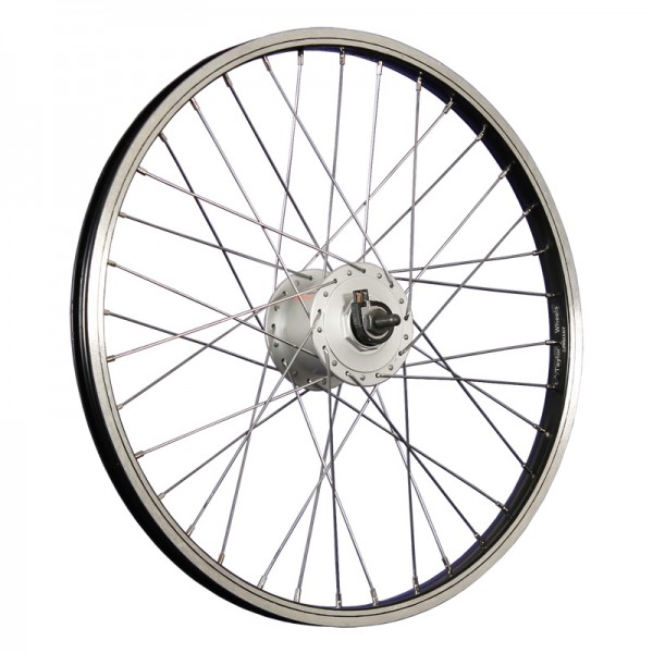20inch bike front wheel hub dynamo stainless steel 406-19 silver/black