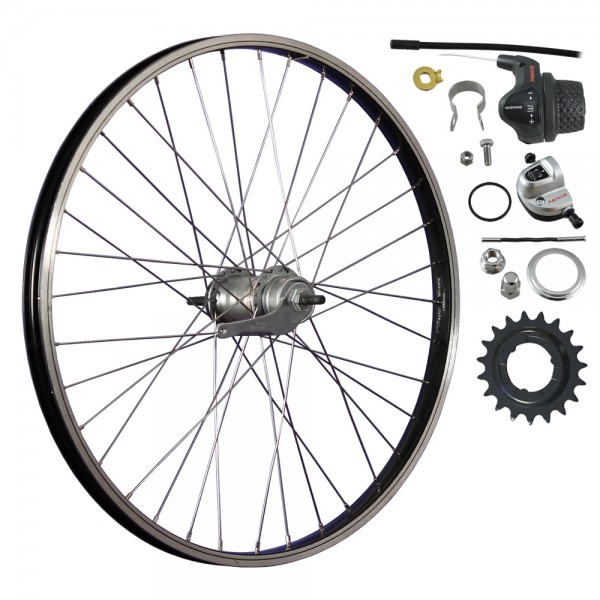 24inch bike rear wheel aluminium rim3 G. Nexus-black/silver