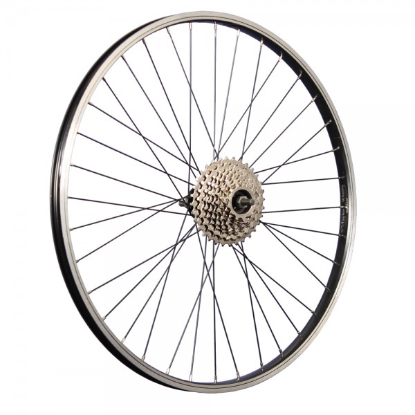 26 inch bicycle rear wheel aluminum rim with 9-speed freewheel black