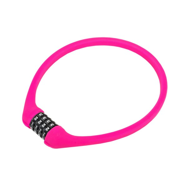 Bicycle cipher lock ACL-77 600mm steel cable universal silicone pink