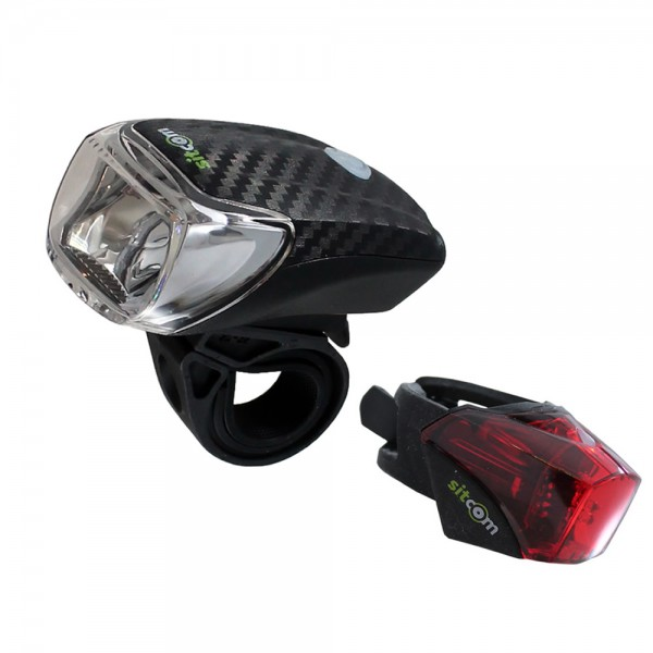 Bicycle LED light set 40 Lux sensor rechargeable front / rear USB black