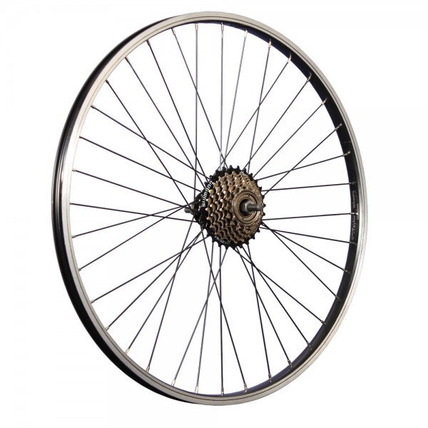 26 inch bicycle rear wheel aluminum rim with 7-speed freewheel black