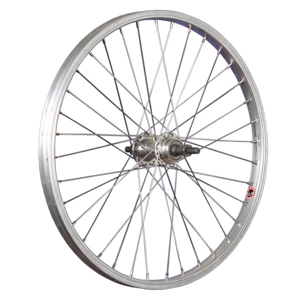 20inch bike rear wheel aluminium for thread-on freewheel silver
